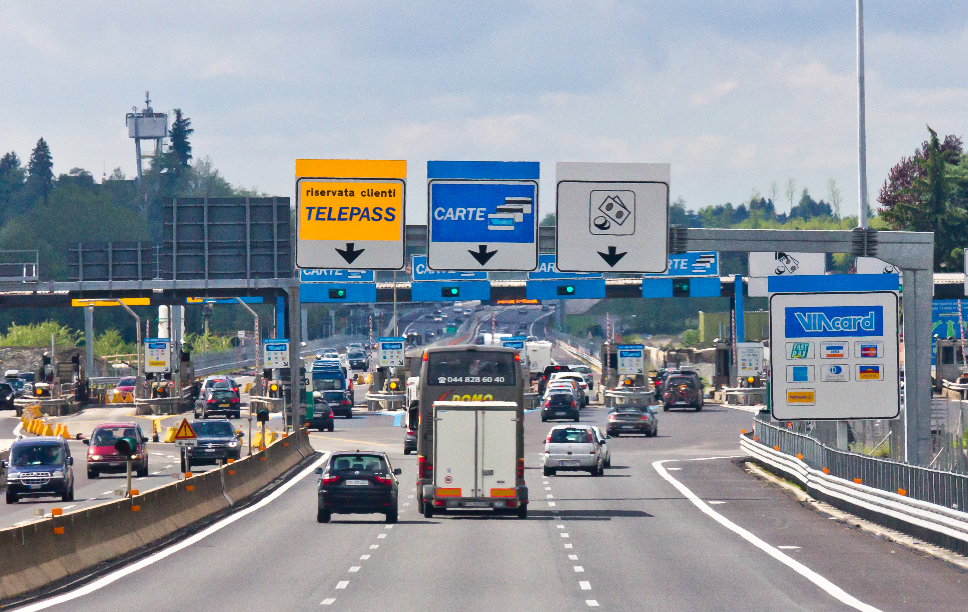 Highway A9, toll station Como Grandate, Italy